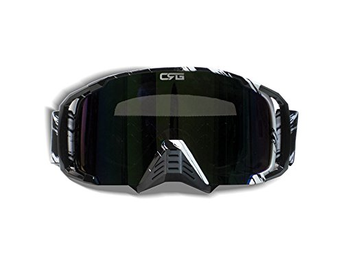 CRG Motocross ATV Dirt Bike Off Road Racing Goggles Adult T815-157 Series (Black) by CRG Sports