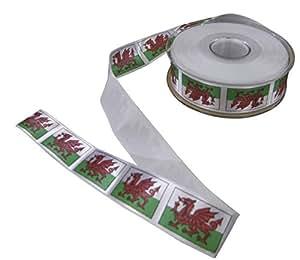 Bandera de Gales dragón rojo verde blanco impreso cinta 25mm se vende en 20metre longitudes