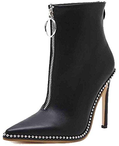 Easemax Womens Trendy Beaded Pointed Toe High Stiletto Heel Zipper Boots Black