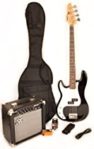 Ursa 1 RN PK LH BK Full Size Left Handed Bass Guitar Package Black w/BA1565 Amp, Carry Bag, and On LIne Video Instruction
