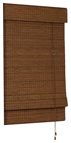 "Radiance 0216200 Cape Cod Bamboo Roman Shade with Valance, 23"" W x 72"" L, Maple"