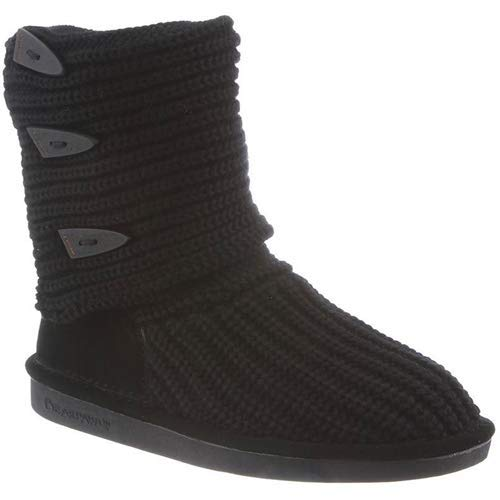 BEARPAW Knit Tall Triangle Button Boot - Women's Black, 9.0 ()