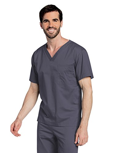 Landau All Day Unisex V-Neck Scrub Top Steel L