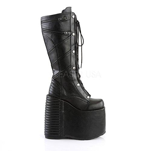 Demonia Damen Gothic Keil Plateau Stiefel Slay-320 Black Vegan Leather Schwarz