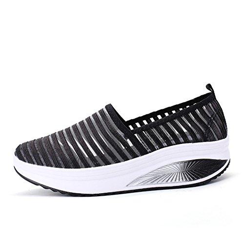 Slip 38 da Dimensione B Donna Altezza Outdoor Scarpe Mesh Casual Color per Comfort Summer Aumentare Atletico Traspirante Fondo On Spesso Sneakers wIqxHRd
