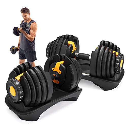 Popsport 52.5LBS Adjustable Dumbbell 2 PCS Fitness Dumbbell Standard Adjustable Dumbbell Handle Weight Plate Home Gym System- Building Muscle