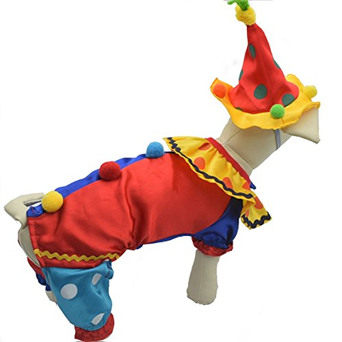 Youbedo Dog Clown Costume Halloween Clown Pet Costume for Small Dogs and Cats Super Funny Clown Style Clothes Cosplay Party]()