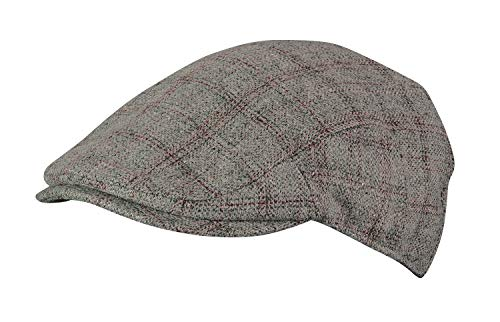 Cap Satin Plaid - Broner Mens Aberdeen Wool Blend Plaid Ivy Cap with Red Satin Tie Lining, Heather Grey Plaid, Large