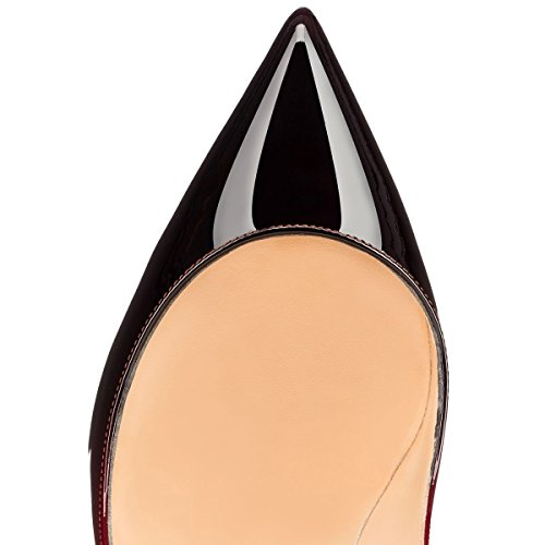 Arc-en-Ciel zapatos de mujer en punta tacón alto de la bomba de charol-redblack-us5