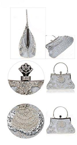 BeautyWJY Vintage Handbag Purse Silver Clutch Wedding Bag Evening Women's Sequined Party Beaded qgqfHRwxa