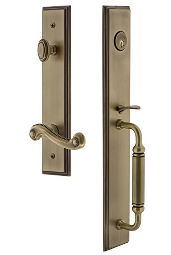 Grandeur 843123 Hardware Carre' One-Piece Handleset with C Grip and Newport Lever Size, Single Cylinder Lock-2.75