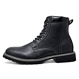 Bruno Marc Men's Stone-03 Black Motorcycle Combat Dress Oxford Snow Boots Size 10 M US