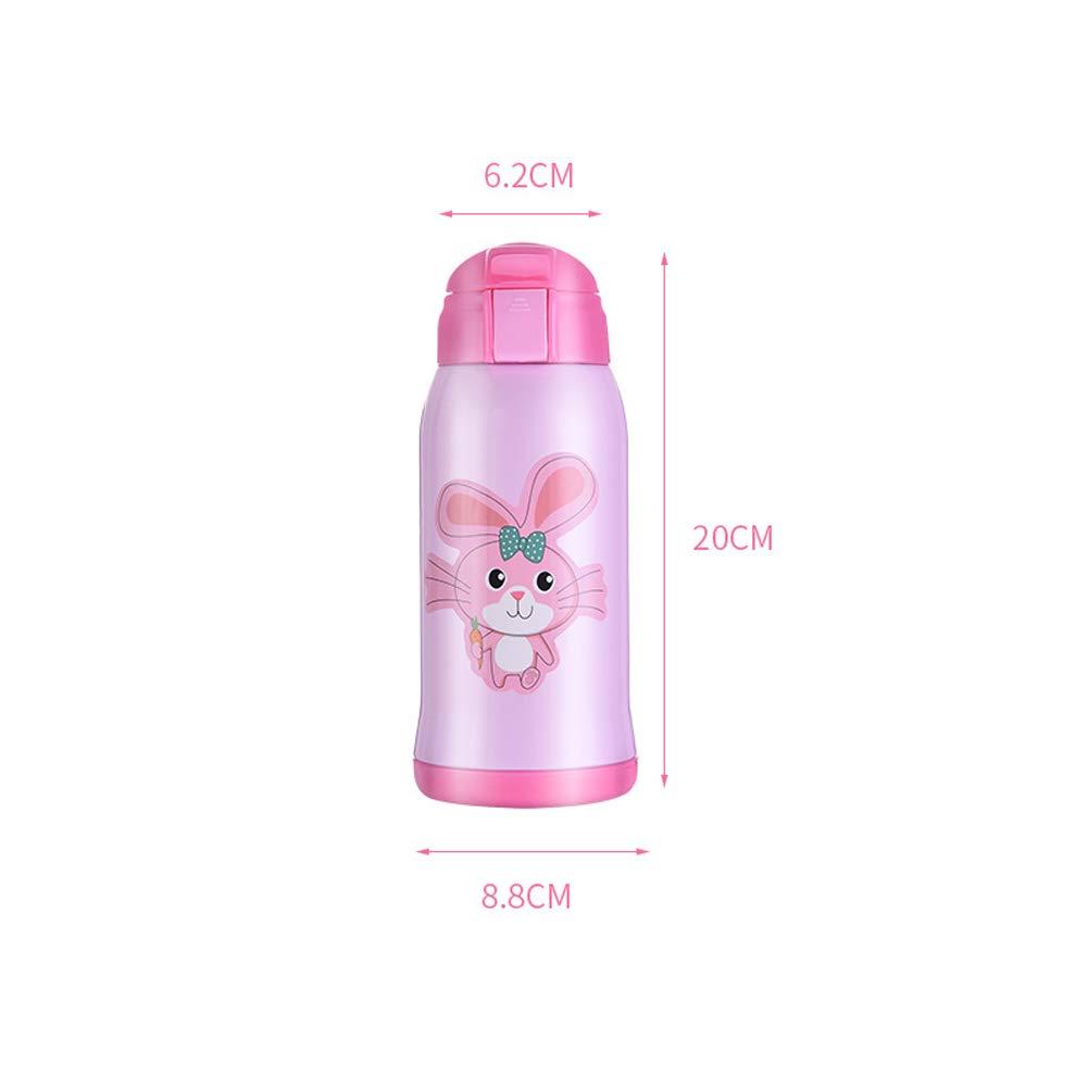 ZSL8 Botella Deportiva para ni/ños Ni/ño ni/ña de Paja de Acero Inoxidable al vac/ío sin Botella de Agua BPA Juego de Taza Impermeable a Prueba de Fugas de Viaje al Aire Libre 600 ml