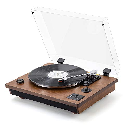 Rcm Wireless 3-Speed Turntable with Stereo Speakers Natural Wood Vinyl Record Player, Belt-Drive, Vinyl to MP3 Recording, RCA Output, USB (MC-262T/T Brown)