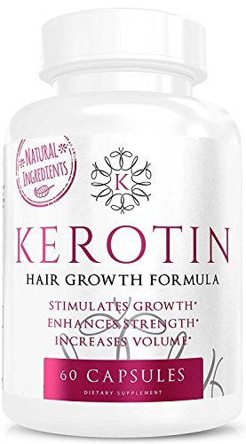 Kerotin Hair Growth Vitamins for Natural Longer, Stronger, Healthier Hair - Enriched with Biotin, Vitamin B, Folic Acid - Promotes Long, Frizz-Free, Keratin Rich Hair for All Hair Types - 60 Capsules