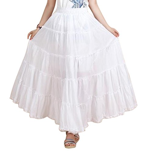 CoutureBridal Womens Elastic Tiered Boho Long Circle Broomstick Peasant Skirt Dance White
