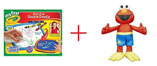 My First Crayola Double Doodle Board and Sesame Street Bath Plush Elmo - Bundle