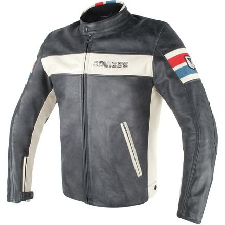 - Dainese HF D1 Leather Jacket (50) (BLACK/ICE/RED/BLUE)