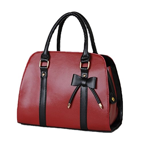 - Catkit Vintage OL Style Womens Bowknot Tote Handbag Shoulder Bag Briefcase Red