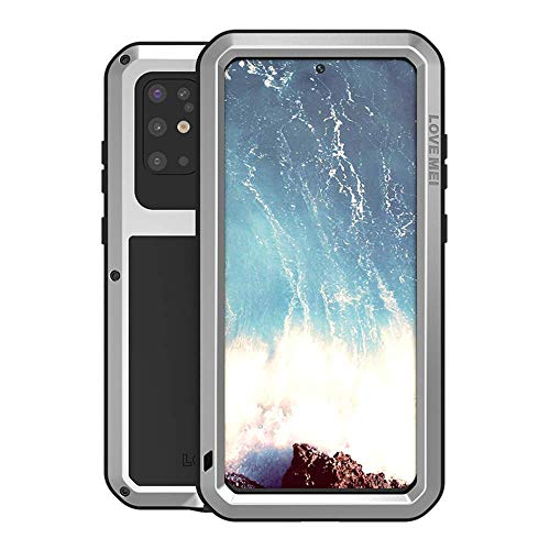 Galaxy S20 Plus Case,Bpowe Fully Body Protection Gorilla Glass Aluminum Alloy Protective Metal Resistant Shockproof Military Bumper Heavy Duty Cover Case for Samsung Galaxy S20+/S20 Plus 5G (Silver)