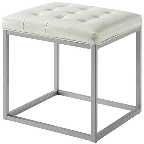 Posh Living Nolan White Cube Ottoman - PU Leather - Button Tufted - Metal Frame