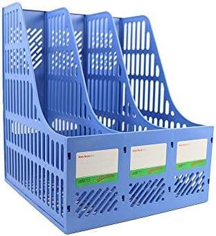 Desktop-Datei-Magazinhalter Desktop Storage Datei-Rack-Informationen Rack-Kunststoff-Datei Box 3 Ebenen Beschriften Papierkram Halter Hohl geschnitzt Entwurf Leichte Bürobedarf Dokument Schrank Rack