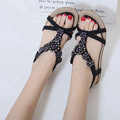 Les Summer de Forme Plates Noir Femmes Bohème Sandales pour Strass Plate Chaussures Comfort Beach élastique Fleurs Sandales qwUT4w