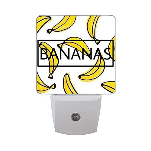 2 Pack Led Night Lights, Auto Senor Dusk to Dawn Night Lights Plug in for Kids Baby Girls Boys Adults Room [Bananas] (Fish Lamp Banana)