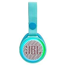JBL JR POP - Altavoz inalámbrico portátil con Bluetooth óptimo para niños, 5 h de tiempo de juego, resistente al agua, turquesa