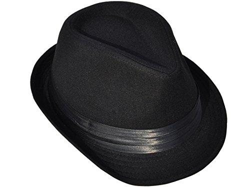 Simplicity Unisex Teardrop-Dent Pinstriped Short Brim Fedora Cap Black