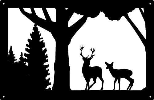 The Metal Peddler Wildlife Deer Wall Art – Buck and Doe -Size 13.8 x 9
