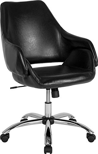 StarSun Depot Madrid Home and Office Upholstered Mid-Back Chair in Black Leather 27