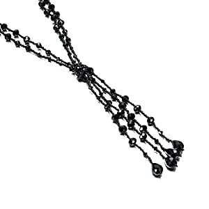 URBAN JEWELRY The 1920's Collection Unique Charcoal Black Multitier Beaded Lariat Necklace for Women (21.6″)