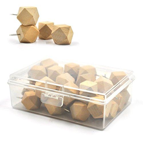 eZAKKA 30Pieces Wood Push Pins Geometric Wooden Thumb Tacks Decorative for Cork Boards Map Photos Calendar with Box