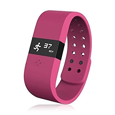 HAMSWAN ERI Bluetooth 4.0 Fitness Activity Tracker Bracelet & Sleep Monitor Smart Wristband w/LED Touch Screen Waterproof IP67 Thermometer Measuring Heart Rate for Andriod & iOS (Red)