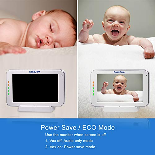"""41P5XL3knpL CasaCam BM200 Video Baby Monitor with 5"""" Touchscreen and HD Pan & Tilt Camera, Two Way Audio, Lullabies, Nightlight, Automatic Night Vision and Temperature Monitoring Capability    Product Description"""