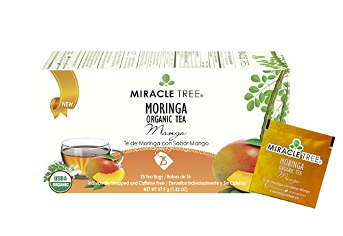 Miracle Tree USDA Organic Premium Moringa Wellness Tea 25 Individually Sealed Tea Bags Mango