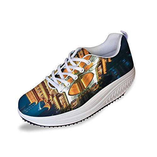 Landscape Stylish Shake Shoes,Major Popular Big Bridge in Chinese City Monumental Classic Building Tower Photo for Women,7
