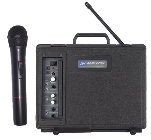 AmpliVox Sound Systems Handheld PortableSpeaker with Mic, Wireless, 10 Battery Required, Black (APLSW223)