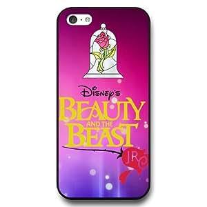 Disney Cartoon Beauty and The Beast, Hard Plastic Case for iPhone 5c - Disney Princess iPhone 5c Case Cover - Black
