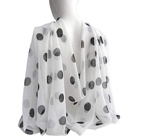 White Big Black Polka Dots Wide Long Soft Chiffon Scarf for Women Lightweight Wrap Mother's day Gift 77