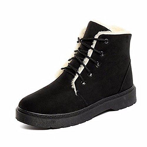 ZHUDJ Chaussures Pour Femmes Bottes Bottes De Neige D'Automne Talon Bas À Lacets Bout Rond Pour Un Brun Gris Beige Noir,Black,Us6 / Eu36 / Uk4 / Cn36