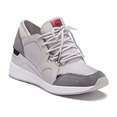 Michael Kors MK Women's Liv Trainer Sneakers Shoes 8.5 M Aluminum