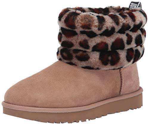 UGG Women's Fluff Mini Quilted Leopard Fashion Boot, Amphora, 8 M US (Leopard Ugg)