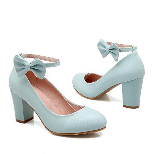 Pompe Rotondo Punta Alti Delle Della Chiusa scarpe Solidi Talloni Fibbia Blu Donne Amoonyfashion B1qxBzrw