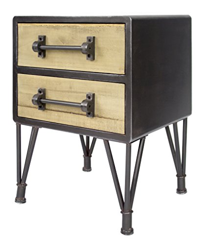 Heather Ann Creations Soho Collection, Industrial Style Nightstand Table, 2 Drawer, Medium, Black & Wood ()