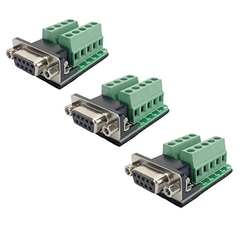 DB9 female Connector Breakout Board RS232 Serial to DSUB Terminal Block Connector Signal Module 3 Pack