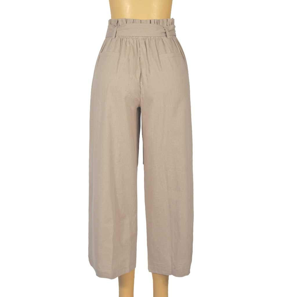 Pervobs Women Solid Casual Drawstring Belt High Waisted Loose Pockets Wide Leg Pants Yoga Trousers(XL, Beige) by Pervobs Women Pants (Image #5)