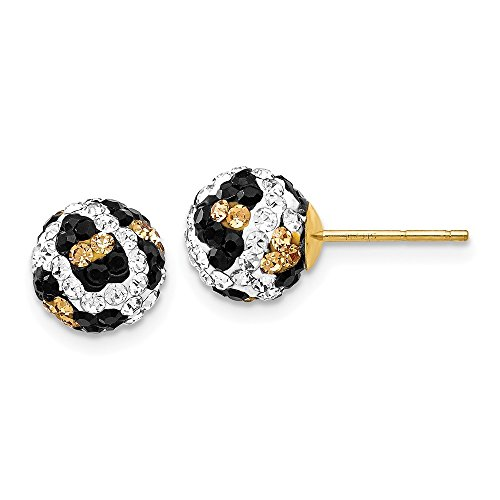 14k Yellow Gold Crystal Leopard White Black 8mm Post Stud Earrings Ball Button Fine Jewelry Gifts For Women For Her - Square Black Crystal Ice