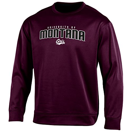 Champion (CHAFK) NCAA Montana Grizzlies Adult Men Long Sleeve Crew Neck Fle, X-Large, Maroon (Sleeve Grizzlies Long)